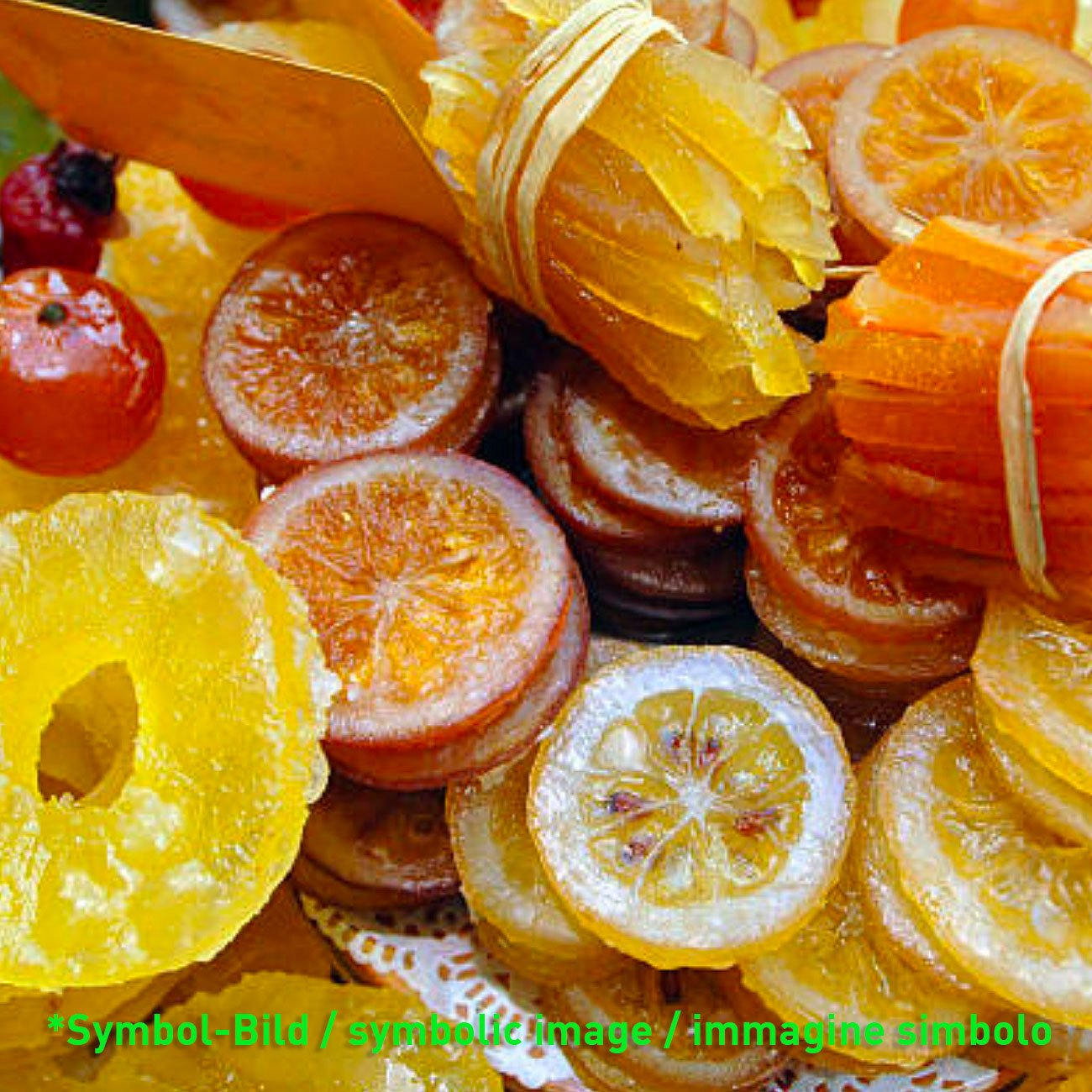 Früchte, kandiert + dreifarbig / frutta candita 3 colori - Dose 5 kg - Eisbecher Dekor Garnier Artikel