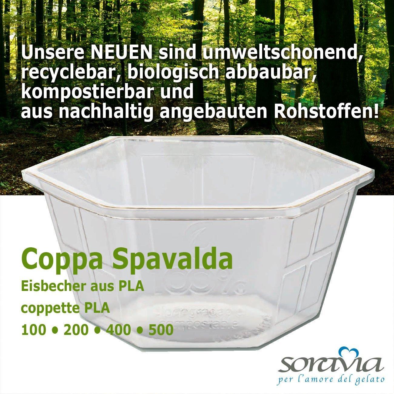 Coppa Spavalda 200 PLA - box 1600 pieces - Ice cup biodegradable Plastic - coppa plastica PLA