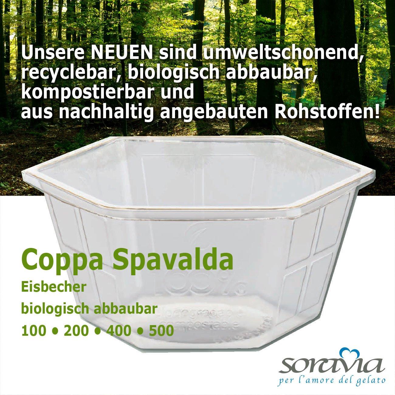 Coppa Spavalda 400 PLA - box 800 pieces - Ice cup biodegradable Plastic - coppa plastica PLA
