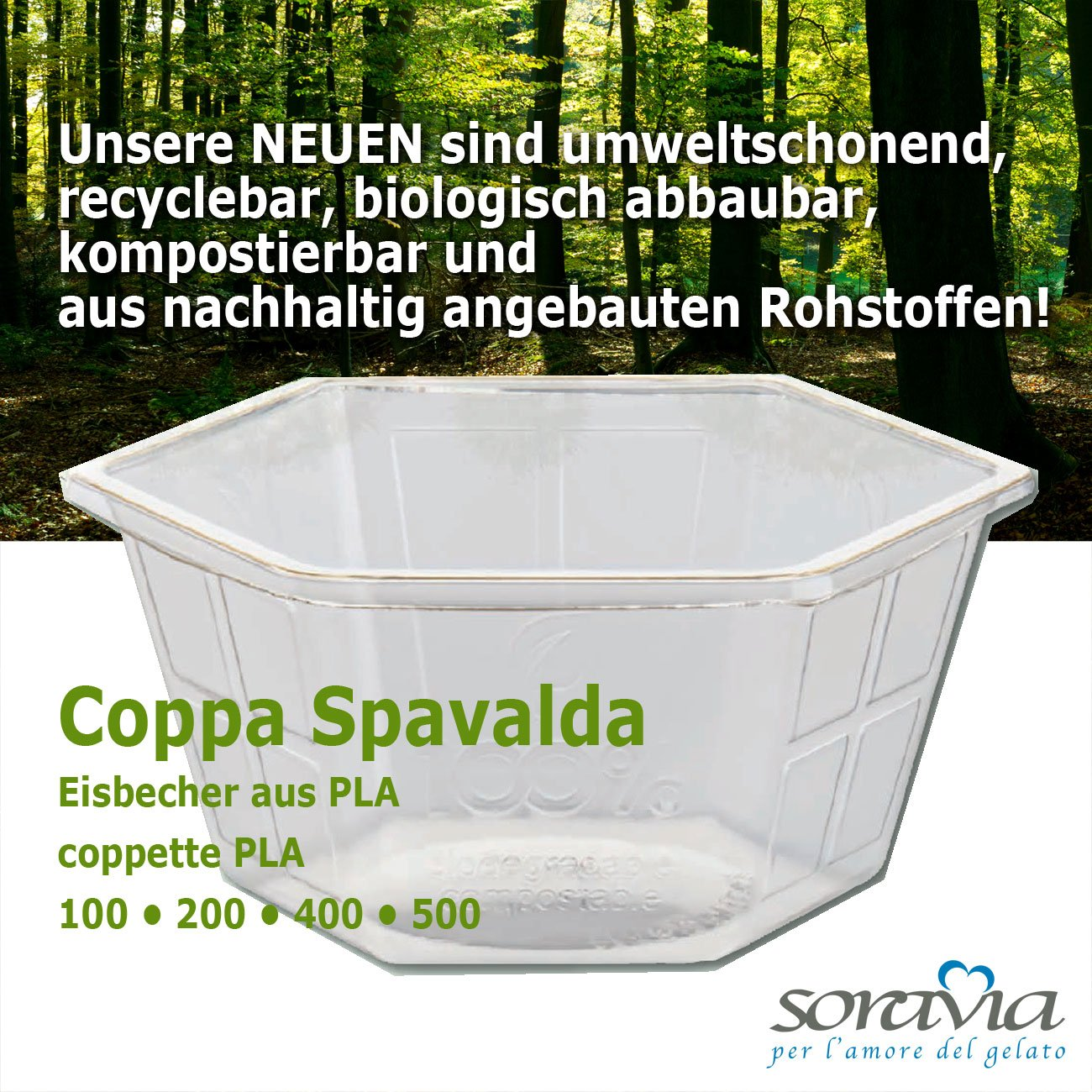 Coppa Spavalda 500 PLA - box 600 pieces - Ice cup biodegradable Plastic - coppa plastica PLA
