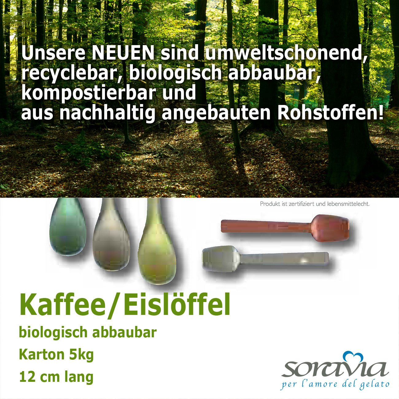 biodegradable coffee & tea spoons  icespoons -12,00 cm - box 5,00 kg
