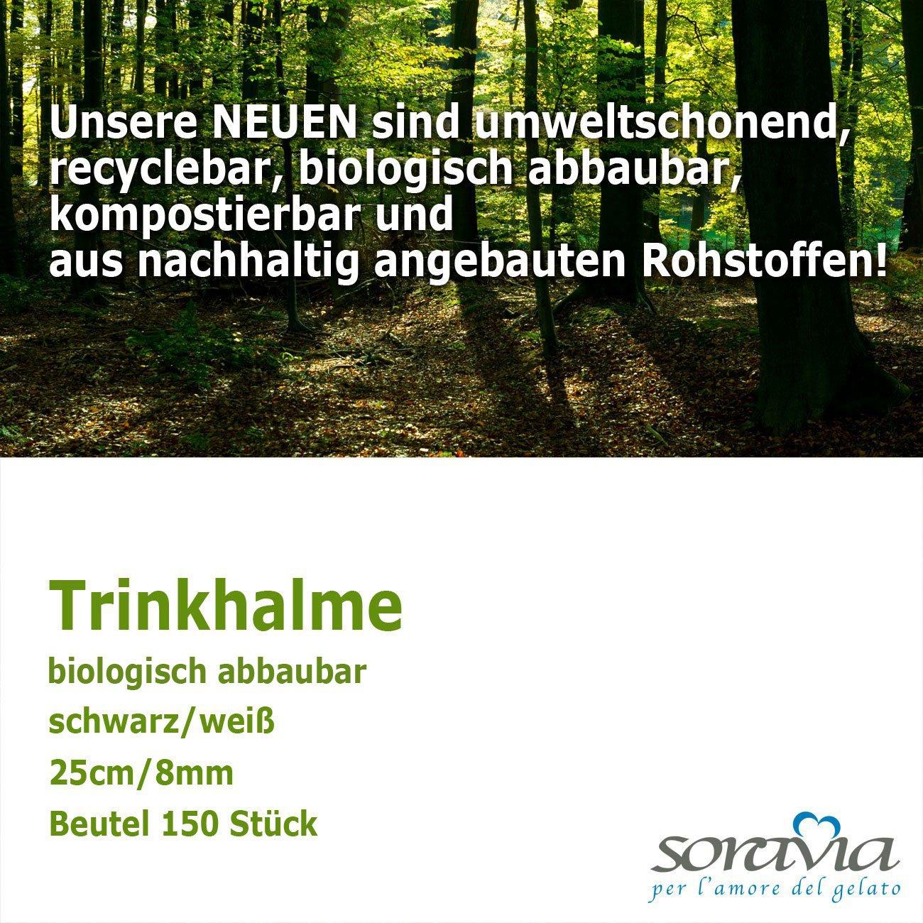biodegradable Straws big - 25 cm / 8 mm - paket = 150 pieces